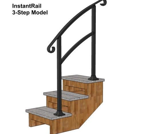 Instantrail – The Original Instantly Adjustable Handrail | Handrails For Concrete Steps Lowes | Aluminum | Fiberglass | House | Simple | 1 Step