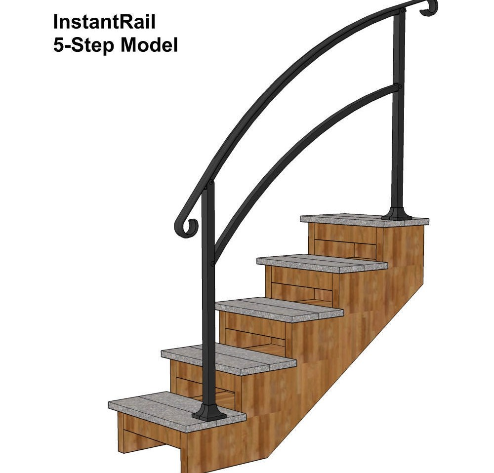 Instantrail – The Original Instantly Adjustable Handrail   Outdoor Handrails For Concrete Steps   Contemporary   Hand Rail   Precast   Stair   Water Pipe
