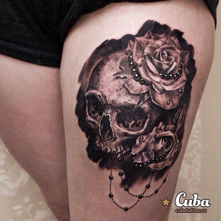 shoulder skull rose tattoo - 838×768
