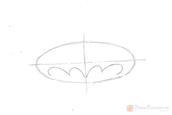 Как нарисовать знак Бэтмена. Шаг 2.