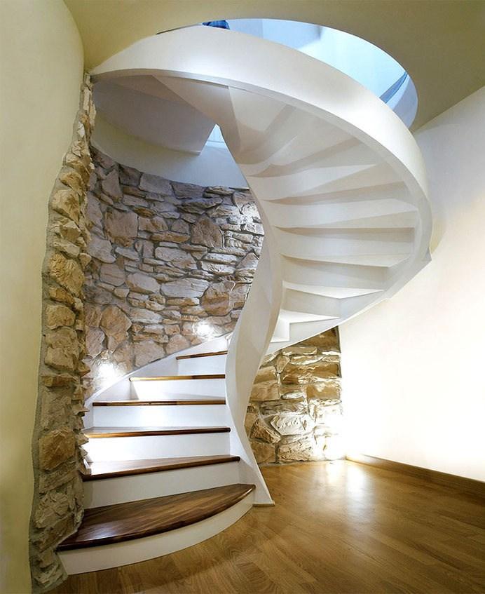 Creative Concrete Spiral Staircases Rizzi And Staircase Image   Interior Concrete Stairs Design   Architecture   House   White Matte Concrete   Urban   Dark Wood Modern