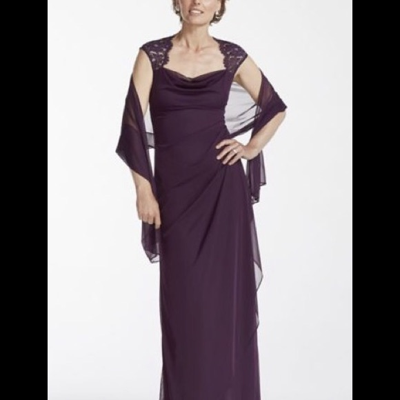 Xscape by Joanna Chen Dresses   Cap Sleeve Long Jersey Dress With     Cap Sleeve Long Jersey Dress with Lace Detail