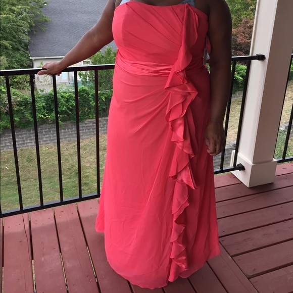 David s Bridal Dresses   Davids Bridal Strapless Guava Dress   Poshmark David s Bridal Strapless Guava Dress