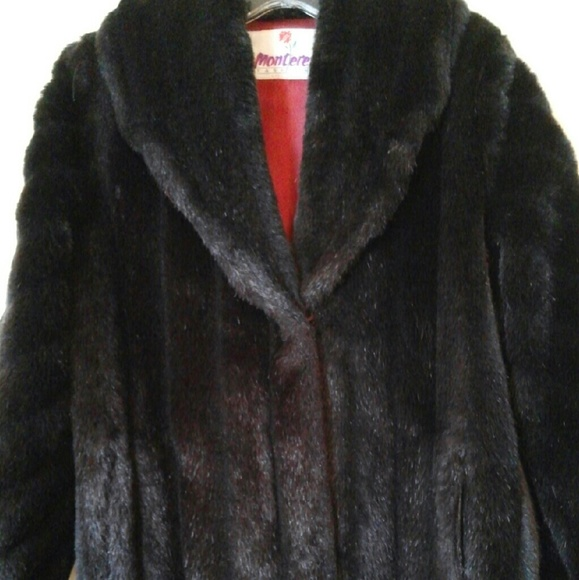 Monterey Fashions Jackets   Coats   Vintage Faux Fur Coat Sz 8 Black     Vintage Faux Fur Coat Monterey Fashions Sz 8 Black