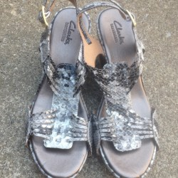 fc4aac4ea8b Clarks Women s Clarks Bendables Faux Snakeskin Sandals 8M From