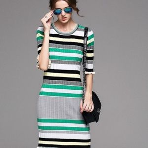 Fashion zone Vasilopoulos s Closet   fashionzone4you    Poshmark Knit Dress stripes 3 4 Sleeve knee length green L