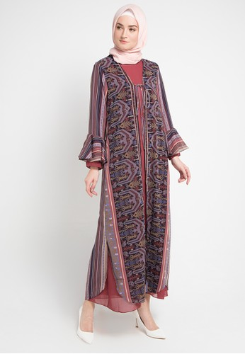 Kamilaa By Itang Yunasz Multi And Brown Gamis Outer Etnik Beaaacebgs_