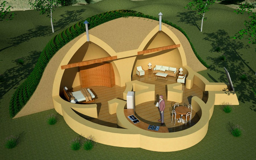 Triple Dome Survival Shelter   Earthbag House Plans Triple Dome Survival Shelter  click to enlarge