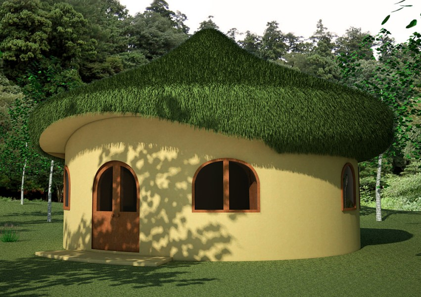 Hobbit House   Earthbag House Plans Hobbit House  click to enlarge