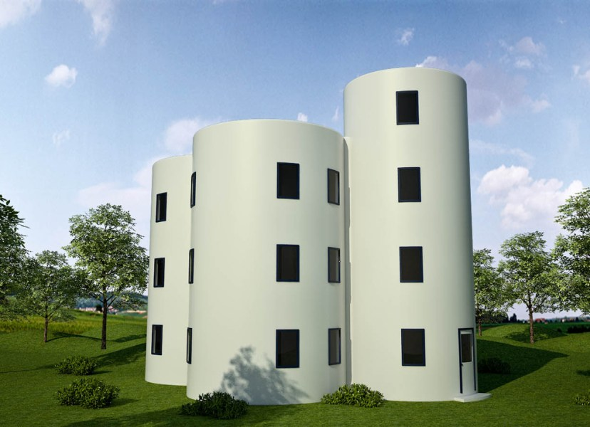 Earthbag House Plans   Small  affordable  sustainable earthbag house     Rainwater Towers Apartments  click to enlarge