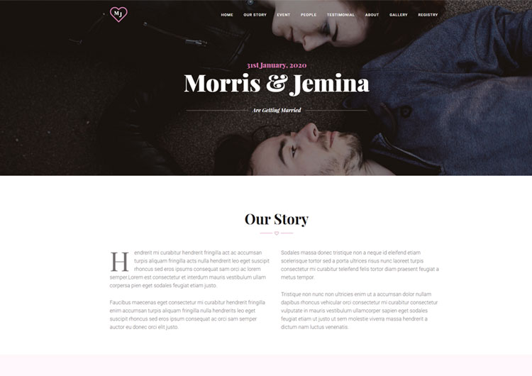 Wedding Website Template Personal Couple   Ease Template Wedding Website Template Personal Couple
