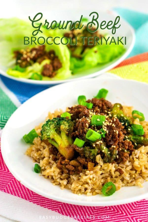Ground Beef and Broccoli Teriyaki with text overlay for Pinterest.