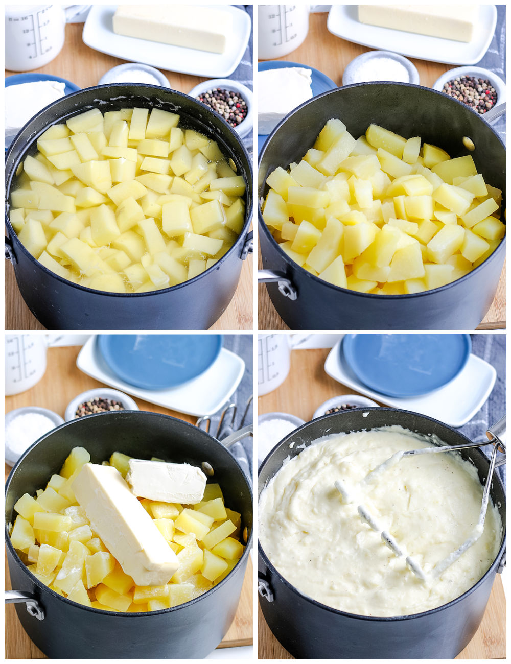 A picture collage of how to make mashed potatoes with cream cheese.