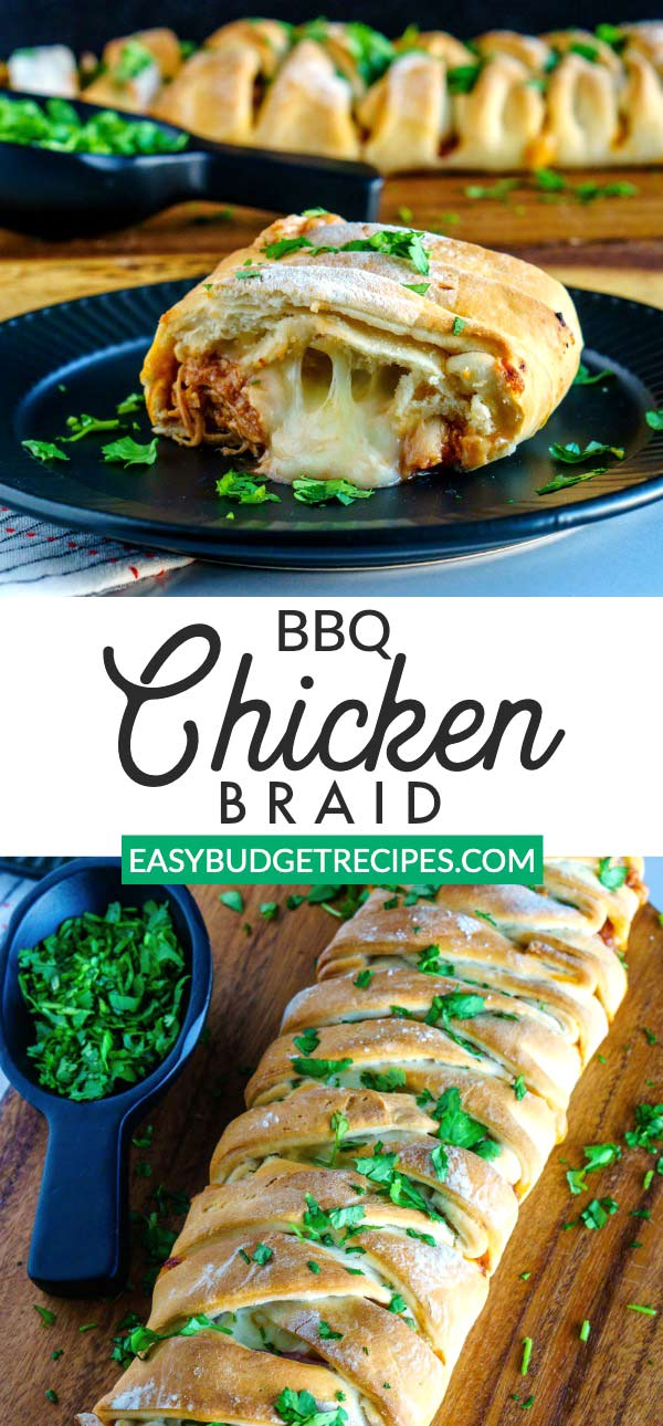 This BBQ Chicken Braid recipe makes 2 large braids, feeds a crowd, and costs just $9.54 to make and $1.20 per serving! via @easybudgetrecipes