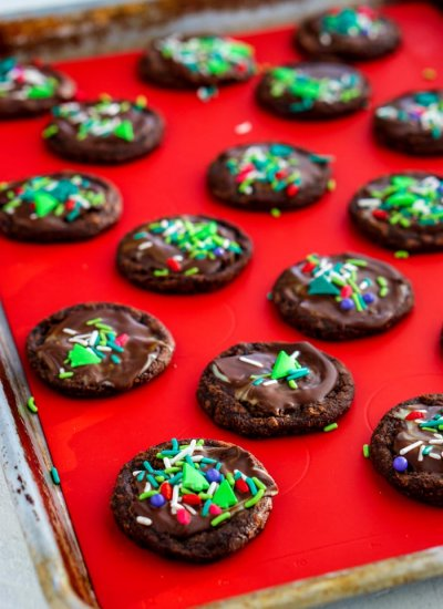 The Christmas Brownie Cookies on a baking sheet.