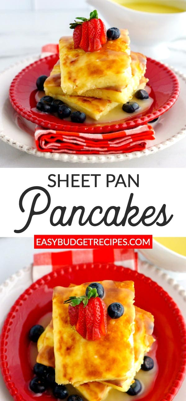 These ButtermilkSheet Pan Pancakes are the easiest and tastiest pancakes that you will ever make! They serve 8 and cost just $4.20 to make. via @easybudgetrecipes