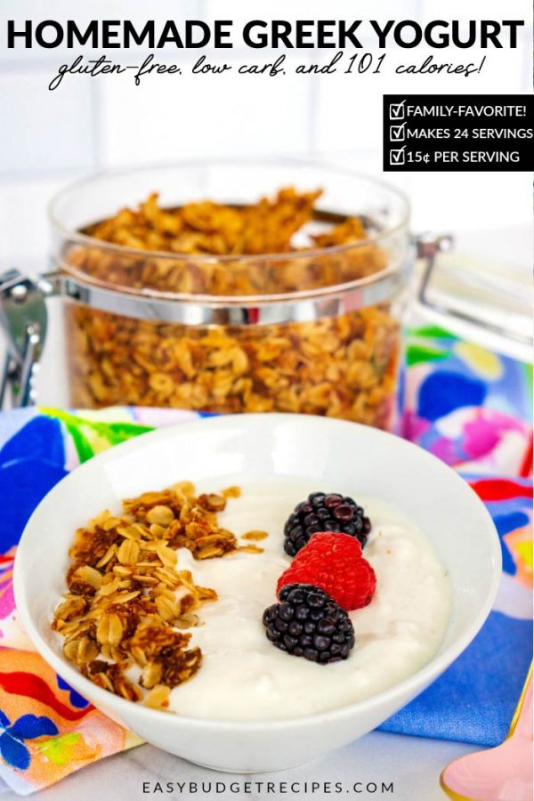 This Crock-Pot Greek Yogurt recipe is easy to make, so creamy, and very economical. The batch costs $3.63 to make 24 servings. That's just 15¢ per serving!