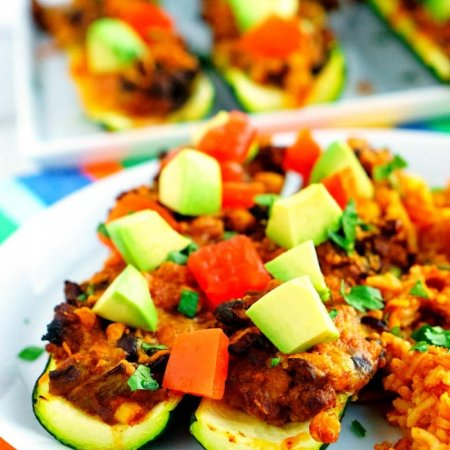 Close up picture of finished zucchini taco boats.