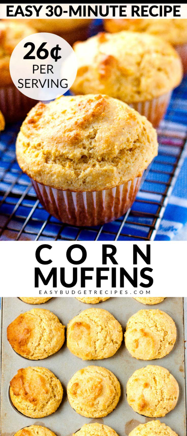 These corn muffins are easy to make moist, fluffy, and so delicious. This recipe makes 12 muffins and costs $3.04 to make. That's just 26¢ per serving! via @easybudgetrecipes