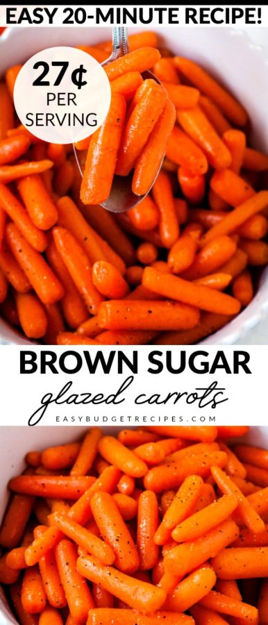 Finished Brown Sugar Glazed Carrots with text overlay for Pinterest.