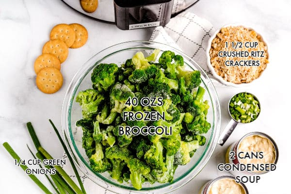 An overhead picture of all of the ingredients needed to make the broccoli casserole.