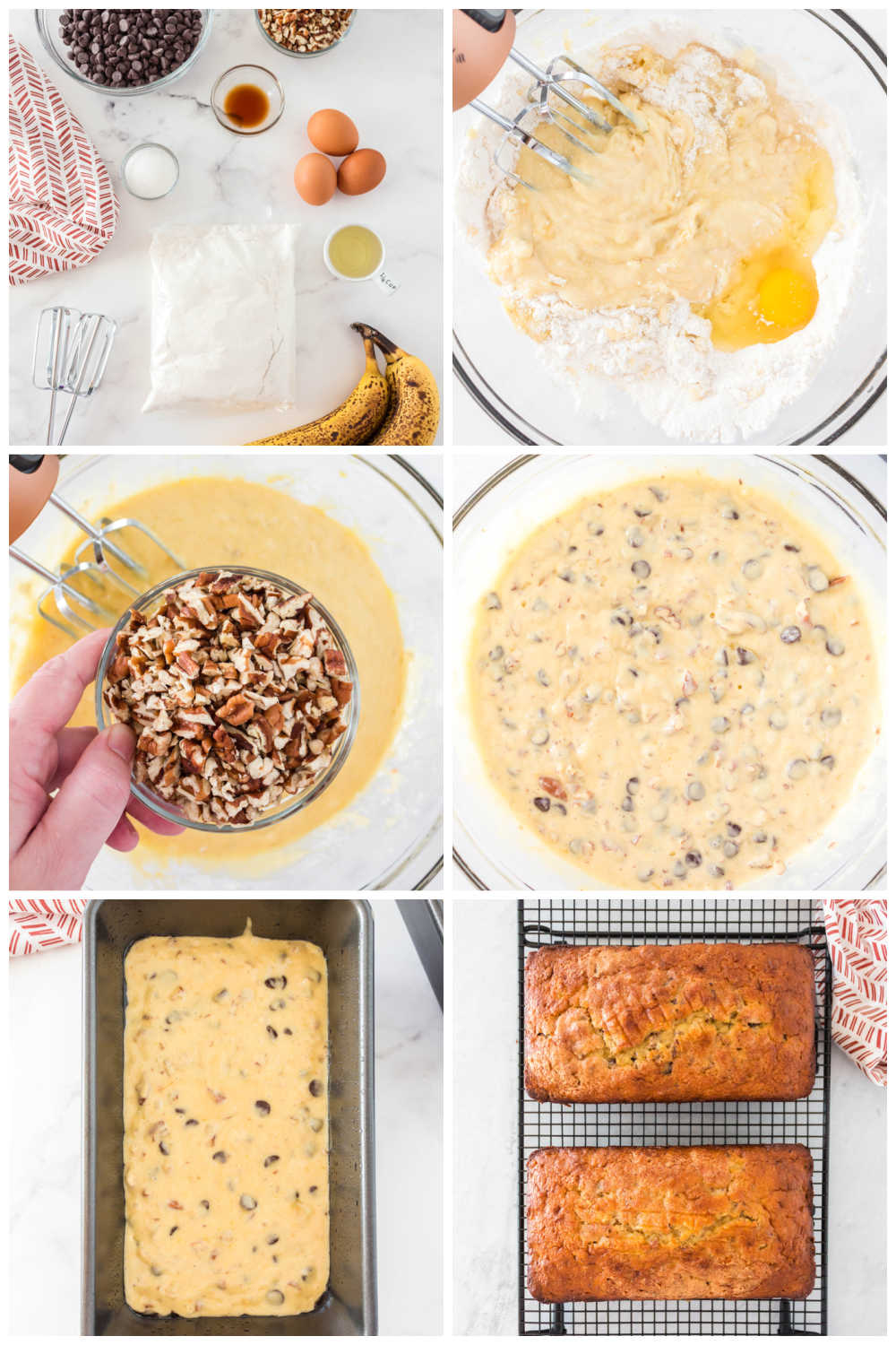 A picture collage of the recipe steps to make this banana bread made with a cake mix.