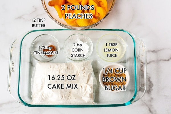 A picture of the ingredients needed to make this peach cobbler with text overlay.