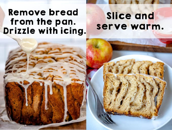 A loaf of apple fritted bread that has been drizzled with icing.