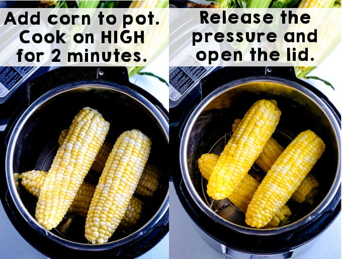 Corn in the instant pot right after it's been cooked.