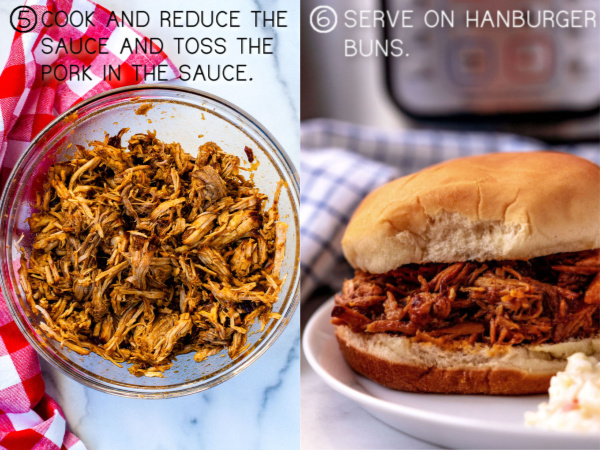 Pork covered in sauce, and pulled pork on a hamburger bun.