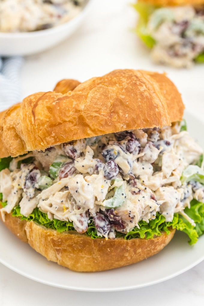 Chicken salad with cranberry and pecans on a croissant with lettuce.