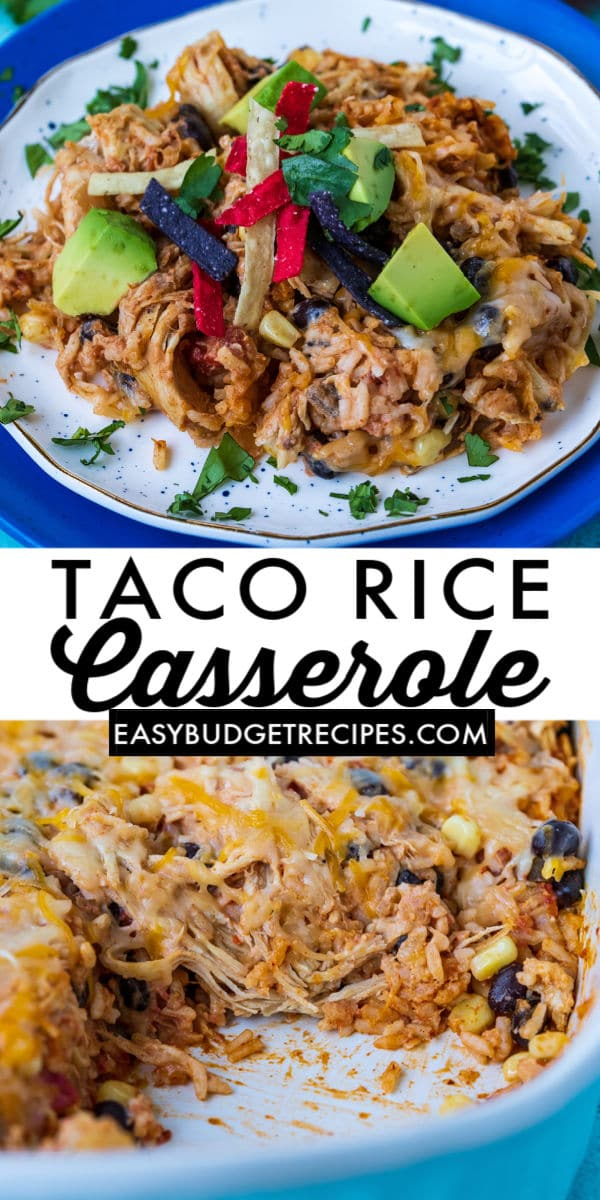 This easy Chicken Taco Rice Casserole is an easy dump and bake recipe that is ready in no time! It's filled with our favorite taco rice ingredients like chicken, chunky salsa, taco seasoning, corn, black beans, sour cream, cheese, and rice! via @easybudgetrecipes