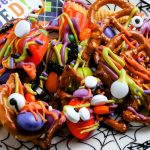 A zoomed in picture of the finished Halloween Snack Mix.