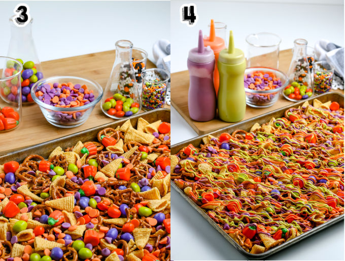 The melted candy coating drizzled over the pretzels and bugles.