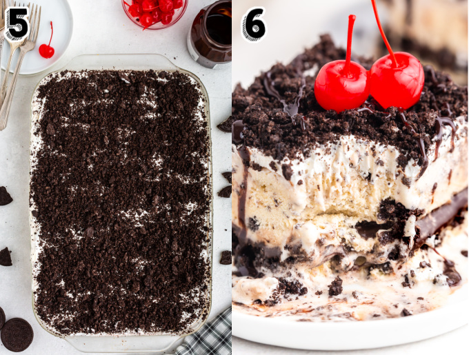 The last layer of cookie crumbs spread over the ice cream cake.