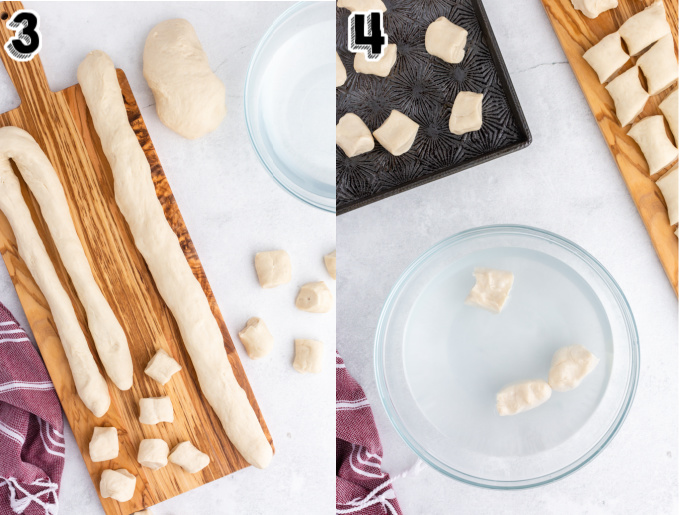 The pieces of dough being coated in a water bath.