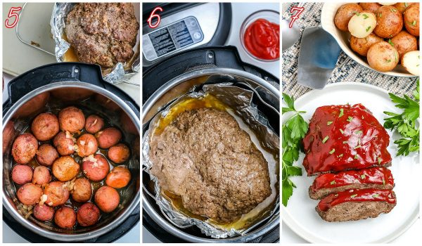 The cooked meatloaf inside of the Instant Pot.