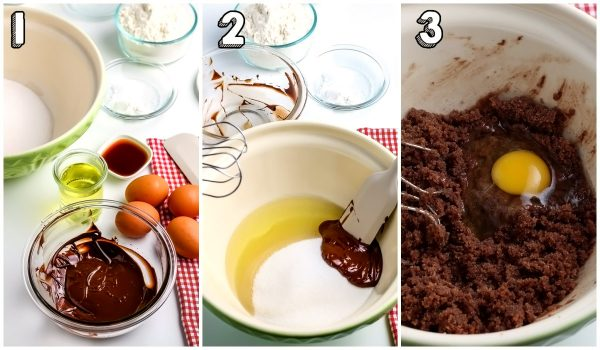 The melted chocolate and sugar mixture mixed together.
