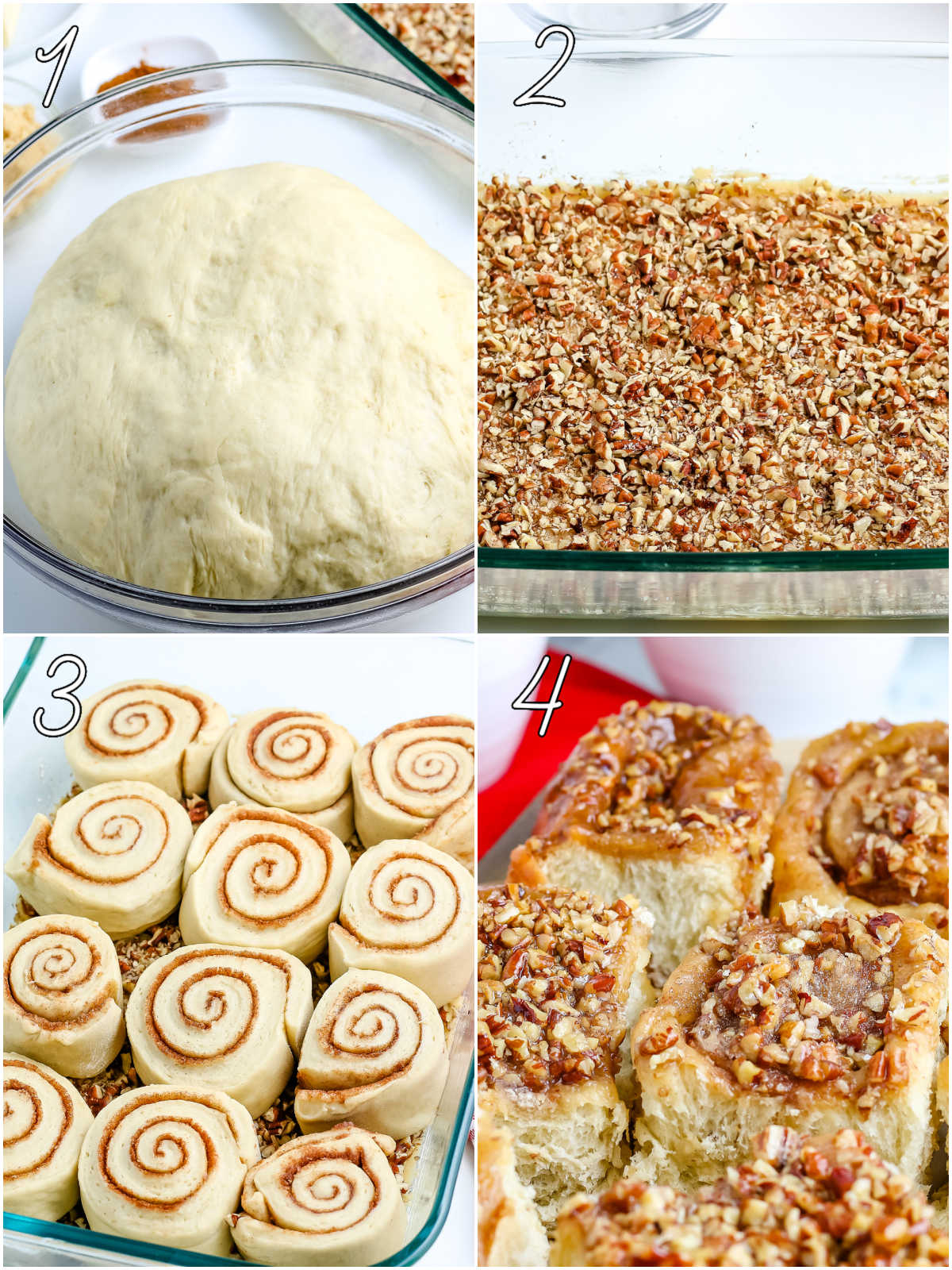 A picture collage with text overly showing how to make these pecan sticky buns.