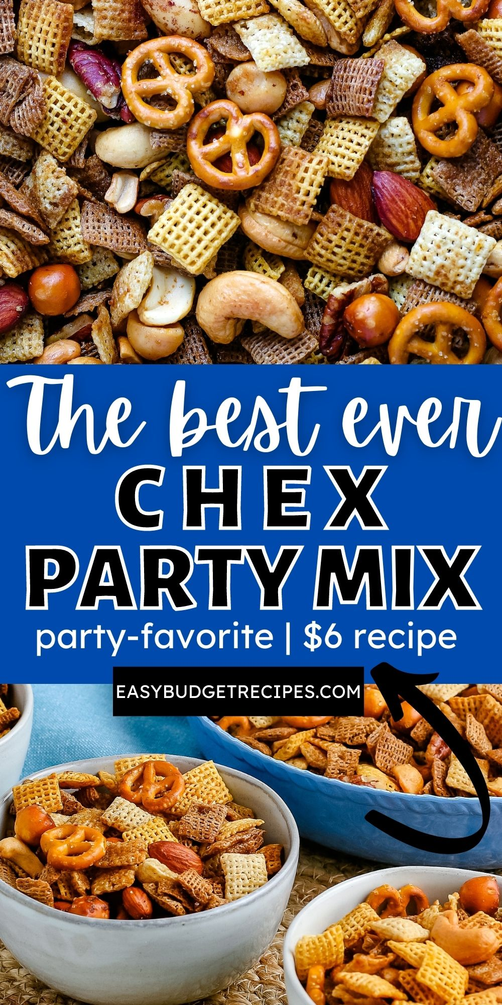 Chex Party Mix is an easy and versatile recipe that is always a party favorite. It's buttery, it's savory, and it's every bit delicious. via @easybudgetrecipes