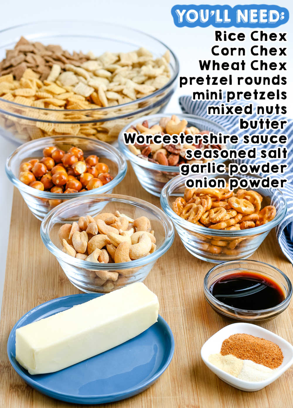 All of the ingredients needed to make this Chex Party Mix recipe.