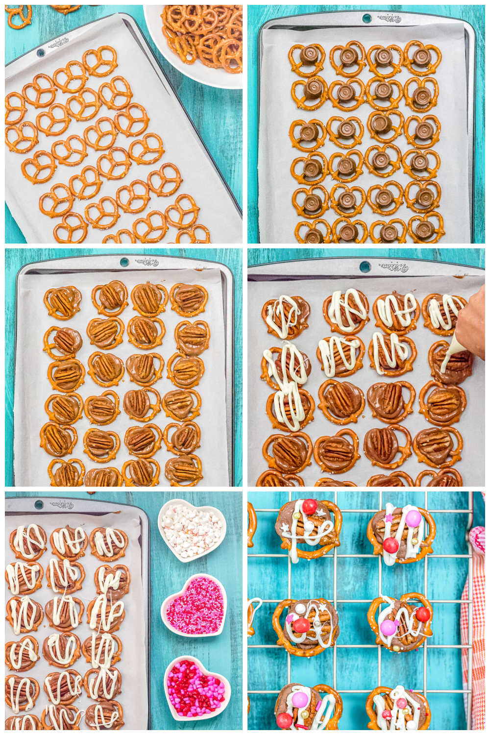 A picture collage of how to make Rolo Pretzel Turtles for Valentine's Day.