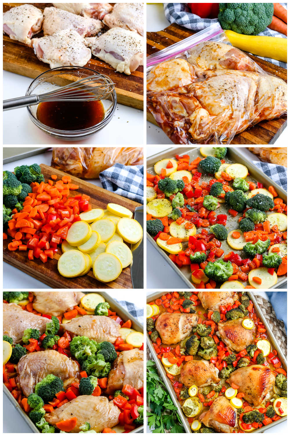 A picture collage of how to make this Sheet Pan Chicken Thighs recipe.