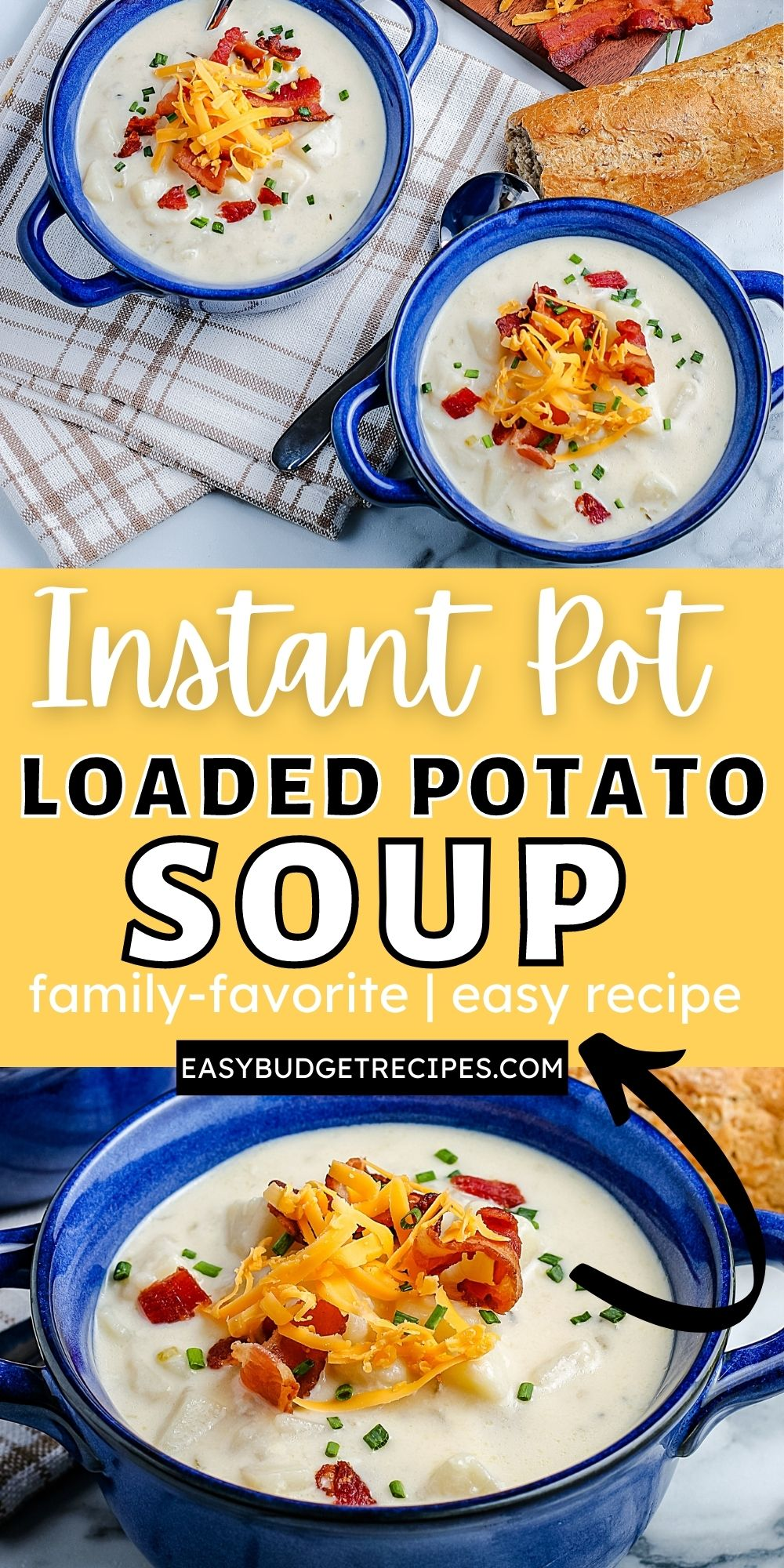 Instant Pot Potato Soup is some serious comfort food. It's velvety, smooth, and savory. It's loaded with bacon, cream, cheese, and toppings. via @easybudgetrecipes