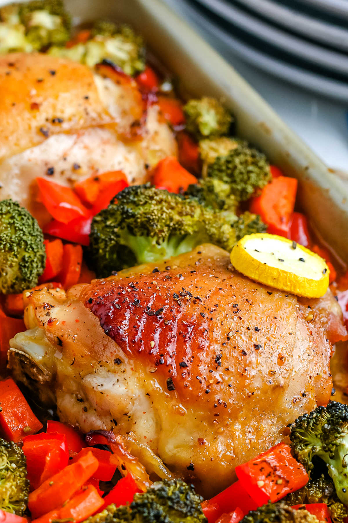 A close up picture of the finished Sheet Pan Chicken Thighs.