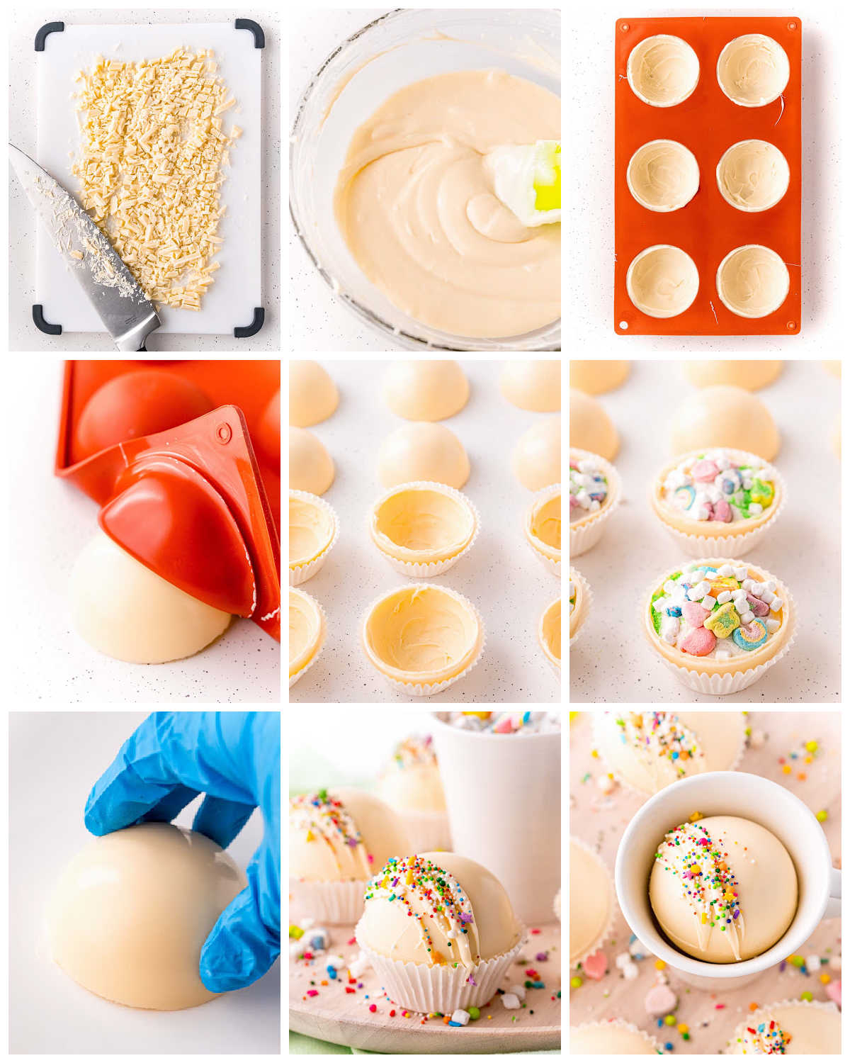 A picture collage of how to make Rainbow White Hot Chocolate Bombs.