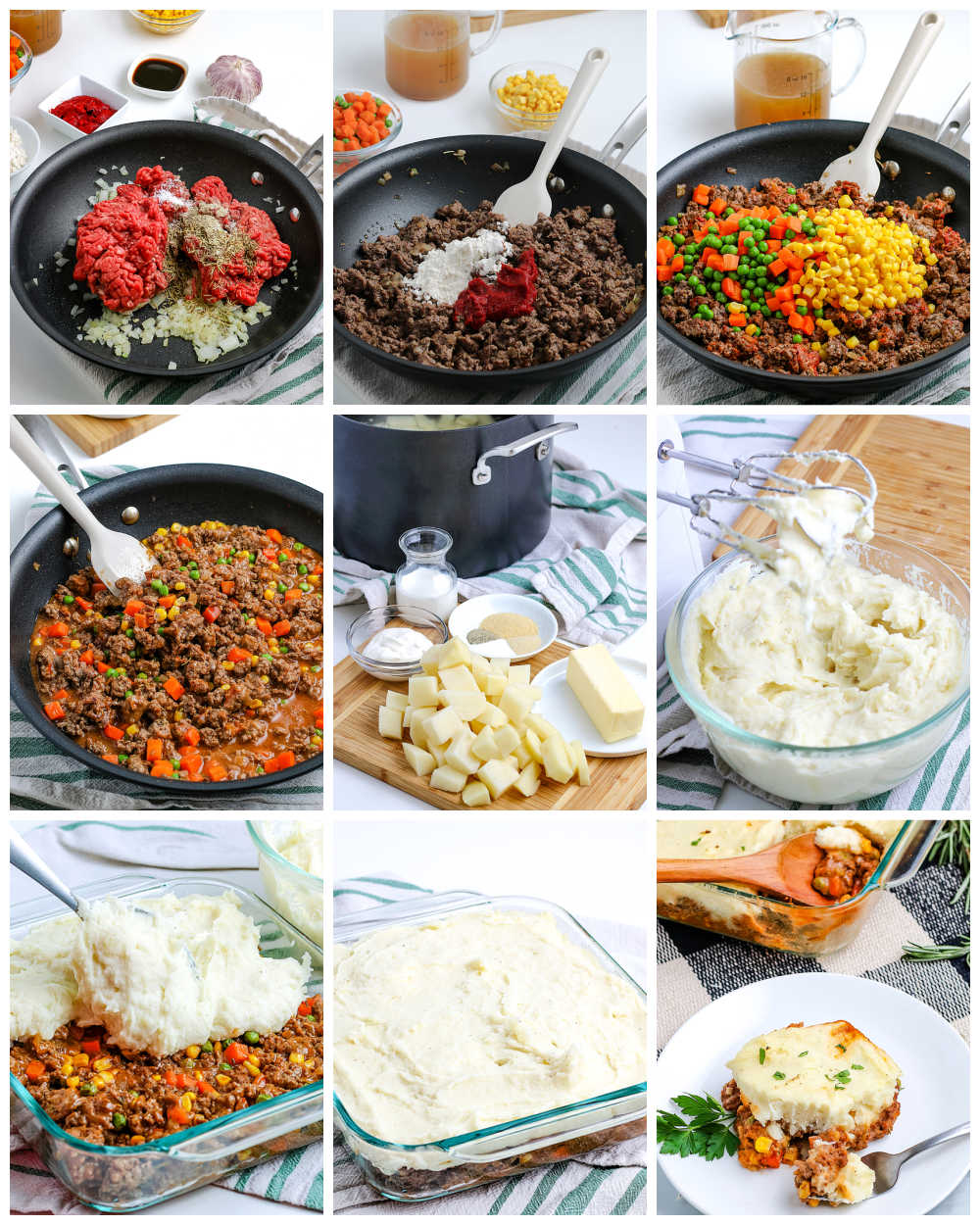 A picture collage of How to Make Shepherd's Pie.