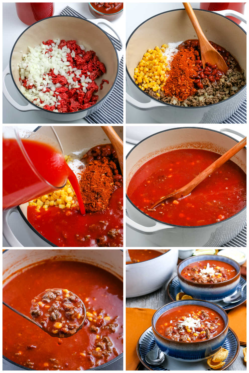A picture collage of how to make Taco Soup.