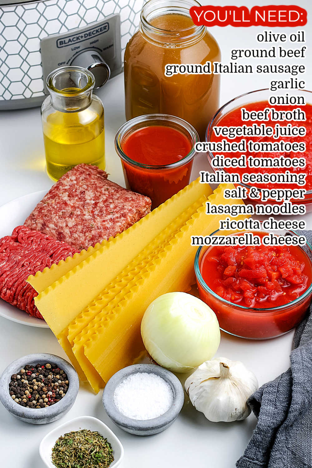 All of the ingredients needed to make Lasagna Soup.