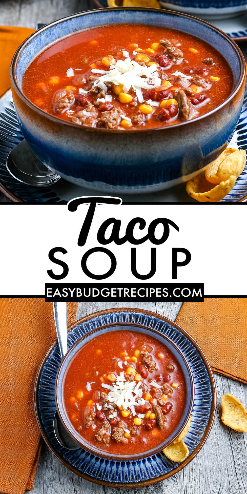 This easy Taco Soup recipe is made with just a handful of ingredients and 40 minutes of your time. It's great for easy weeknight meals. via @easybudgetrecipes
